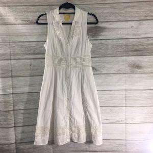 "Anthropologie ""Maeve"" White Cotton Summer Dress"